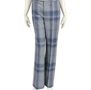 CELINE blue plaid wool straight leg pants NWT